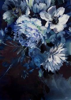 Jo Haran, Navy Blue Dream, Floral Art, Mixed Media Painting, Contemporary Art