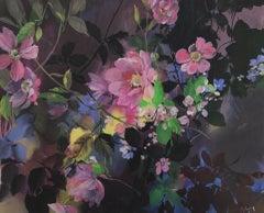 Jo Haran, Jewel Heads in Darkness, Contemporary Floral Art, Mixed Media Art