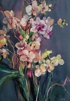 Jo Haran, Orchid Scene, Original Floral Painting,  Affordable Art