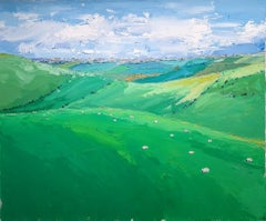 Georgie Dowling, Sheep on the Hill, Impressionist Landscape Painting