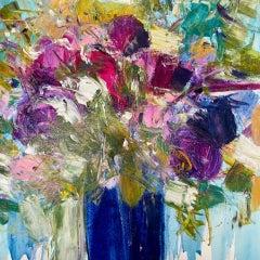 Natalie Bird, Summer Bloom, Original Still Life Floral Painting, Affordable Art