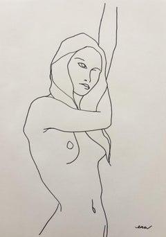 Ellen Williams, Nude 2, Original Minimalist Figurative Drawing, Contemporary Art