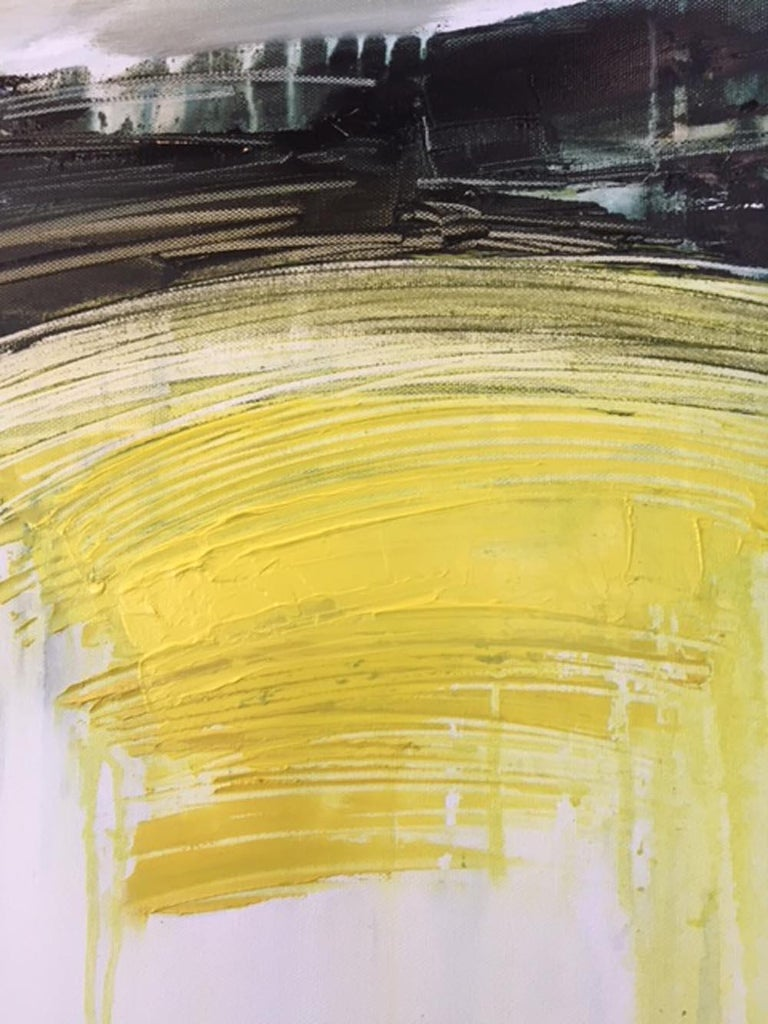 My Point of View, an abtract yellow, white and green landscape - Painting by Gina Parr