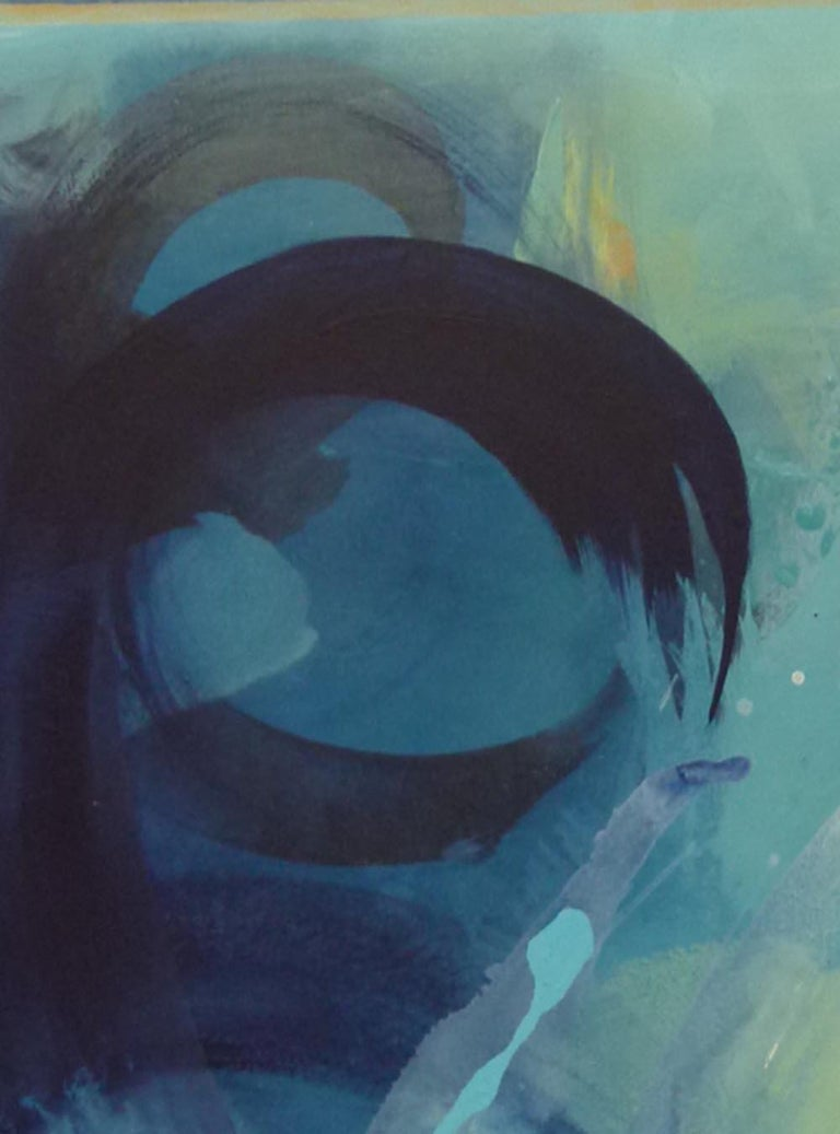 Beneath the Surface, abstract painting in blue  - Painting by Claire Chandler