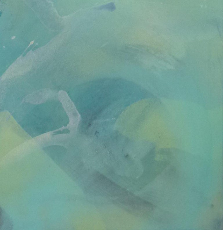 Beneath the Surface, abstract painting in blue  - Blue Abstract Painting by Claire Chandler