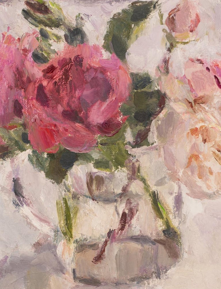 Roses in a Glass Jug 1, still life painting, original art, pink rose painting  - Contemporary Painting by Lynne Cartlidge
