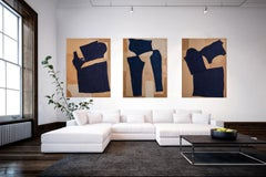 Undone series, large blue abstract cut outs , Triptych, fashion art collage,