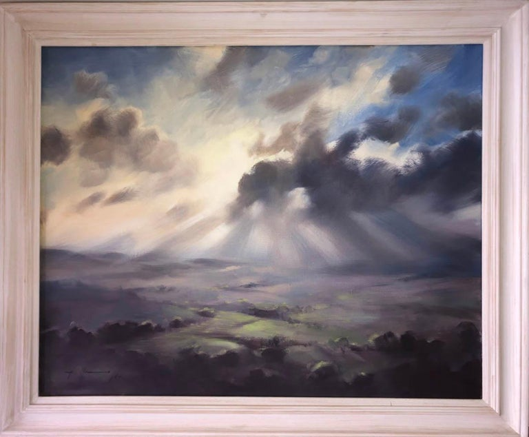 A Wiltshire Sky, Trevor Waugh Original Contemporary Oil Landscape Painting  Size Unframed : H 60cm x W 75cm Price if Sold Unframed: £1250  Size Framed: H 70cm x W 85cm Price if Sold Framed: £1400  A Wiltshire Sky is an original contemporary oil