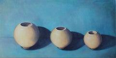 Three in a Row, Fiona Smith, Original Acrylic Painting on Board, Contemporary