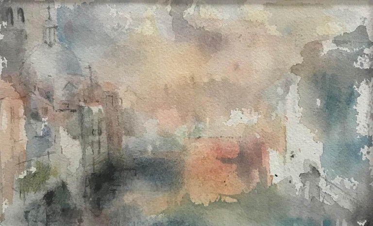 Grand Canal at Dusk, Venice, Jemma Powell, Original Watercolour Painting, Art - Gray Landscape Painting by Jemma Powell
