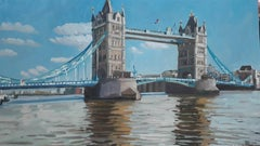 Tower Bridge London from the North Bank BY LESLEY DABSON, Original Painting