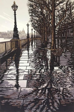Southbank Puddles BY ALEXANDRA BUCKLE, Limited Edition Linocut Print, Fine Art