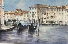 Trevor Waugh, Waiting Gondolas Venice, Original Watercolour Painting, Location