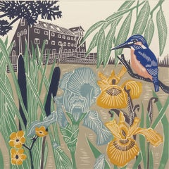 Kingfisher at the Mill, Kate Heiss, Limited Edition Linocut Print, Animal Art