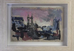 Jemma Powell, Manchester at Night, Original Painting, Cityscape Art