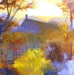 Autumn sunrise BY ANUK NAUMANN, Original Mized Media Landscape Painting for Sale
