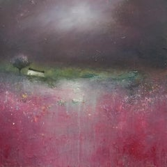 Fields of Crimson, pink and purple, abstract art, landscape painting, Lisa House