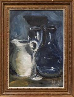 Henrietta Caledon, White Jug, Original Contemporary Framed Oil Painting