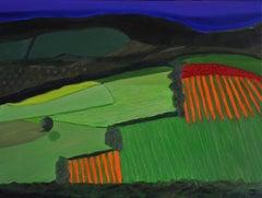 Huerta Asturias BY CHRISTO SHARPE, Original Landscape Painting, Naive Art