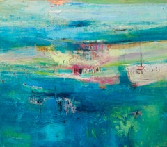 Watching the Tide large contemporary abstract painting for sale, blue sea