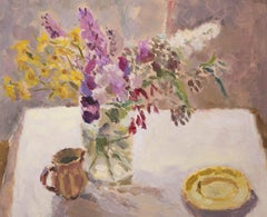 Buddleia with Yellow Flowers and Saucer BY LYNNE CARTLIDGE, Contemporary Art