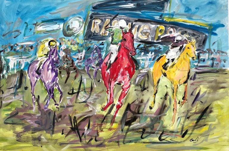 Garth Bayley Animal Painting - Cheltenham Races BY GARTH BAYLEY, Horse Art, Animal Art, Paintings of the Races