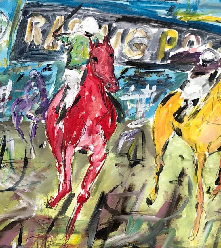 Cheltenham Races BY GARTH BAYLEY, Horse Art, Animal Art, Paintings of the Races - Gray Animal Painting by Garth Bayley