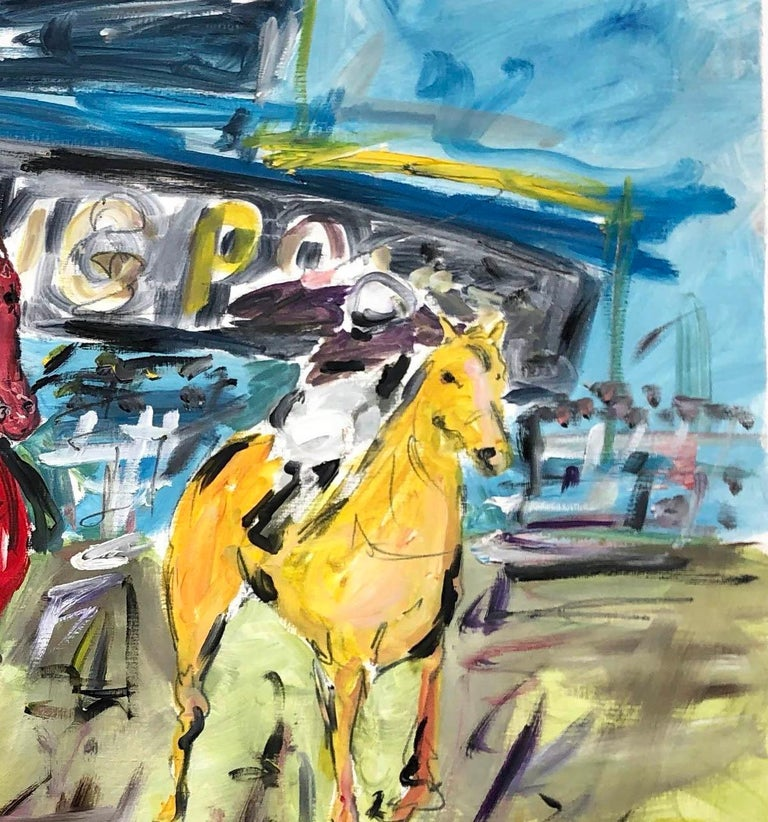Garth Bayley. Cheltenham Races. Oil and Graphite on Oil Paper. Based on the Cheltenham races. Horses, Horseracing, sport, The 60 x 90 cm is the image size with extra for framing. The painting Is on high-quality specialist oil paper and will be