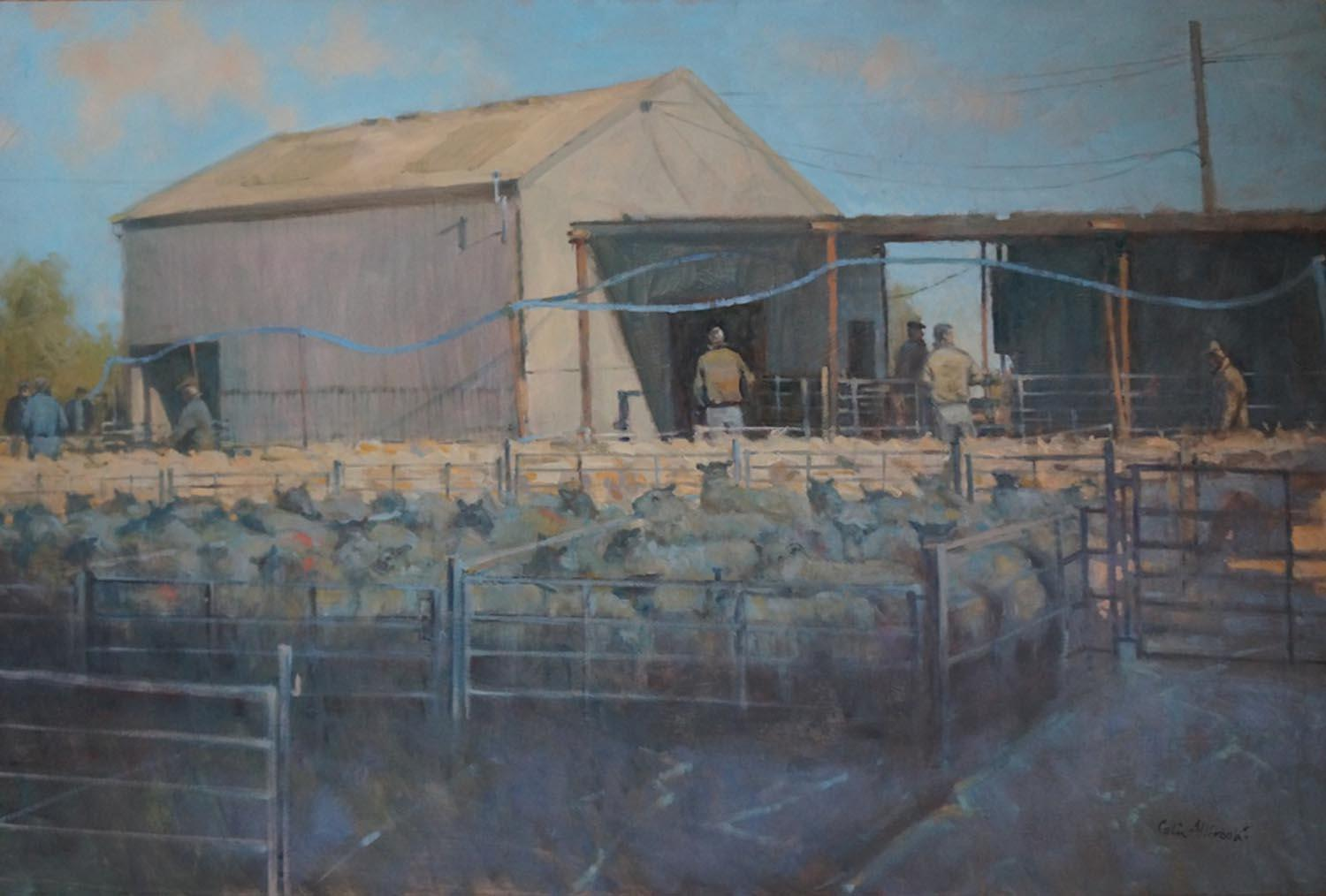 Morning Sheep Market, an original oil painting on canvas