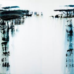 Brackish Water, black and white abstract landscape painting, large painting