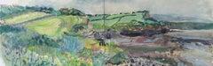 Walkers on Kilve Beach, landscape watercolour, diptych, Lisa Takahashi