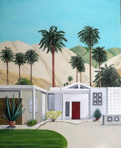 Desert Hideaway - original architectural painting, Karen Lynn, Hockney-esque Art