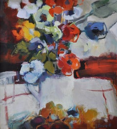 Lucy Powell, Flowers in a Pitcher, Flower Art, Original Painting, Still Life Art