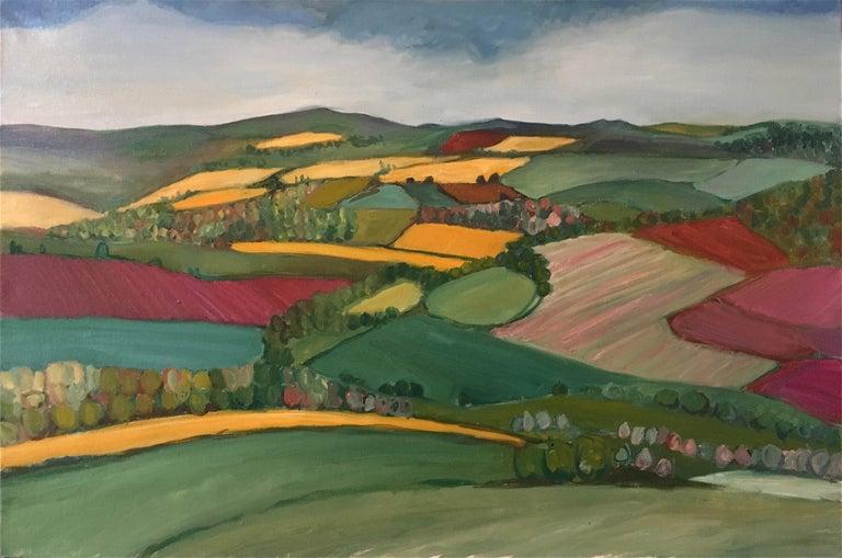 Yellow fields, Eleanor Woolley, Bright Art, Naive Art, Abstract Fields - Painting by Eleanor Woolley