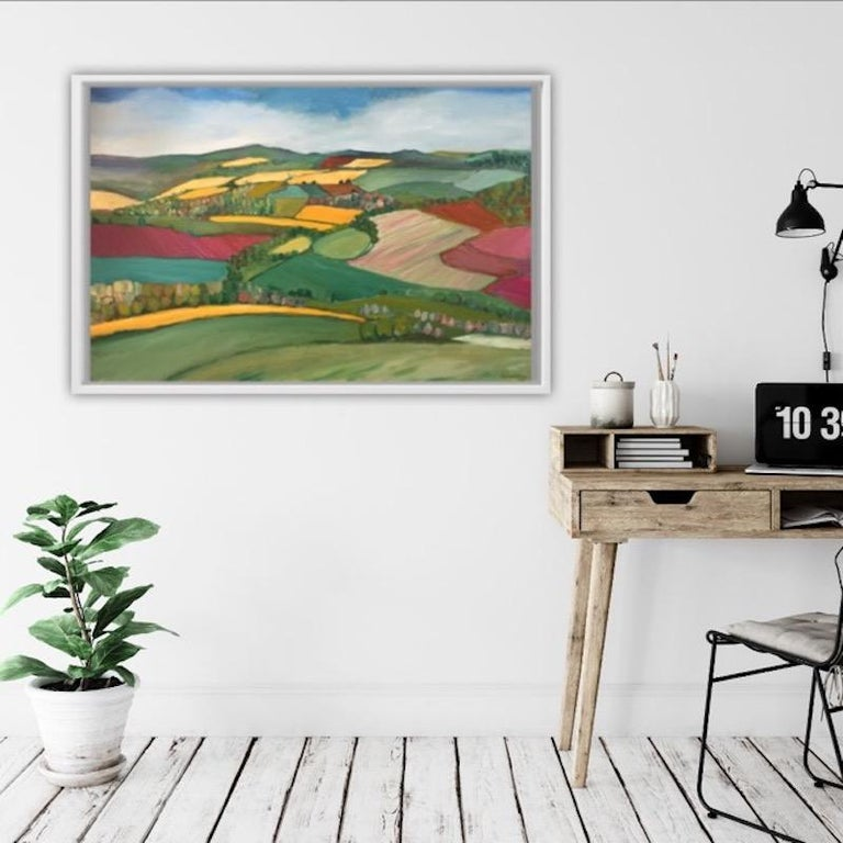 Yellow fields, Eleanor Woolley, Bright Art, Naive Art, Abstract Fields For Sale 1