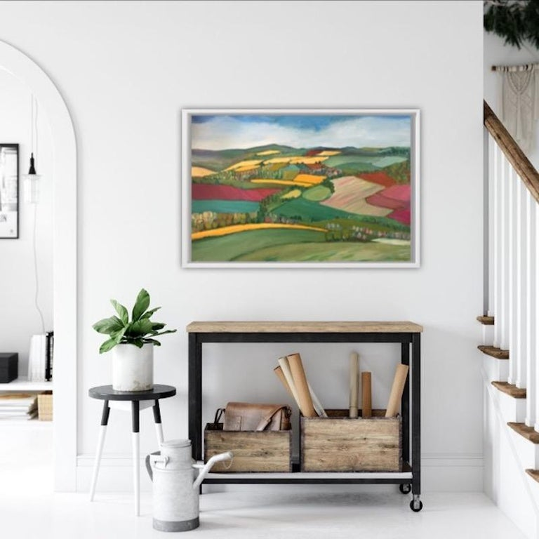 Yellow fields, Eleanor Woolley, Bright Art, Naive Art, Abstract Fields - Gray Landscape Painting by Eleanor Woolley