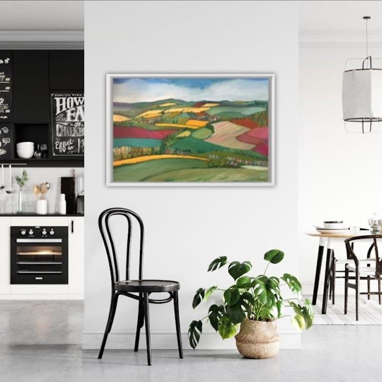 Yellow fields is an original painting by Eleanor Woolley.  A beautiful view from May hill with the bright yellow fields of oil seed rape contrasting wildly with the ploughed patches of earth, painted Al fresco on May day.  Oil on stretched