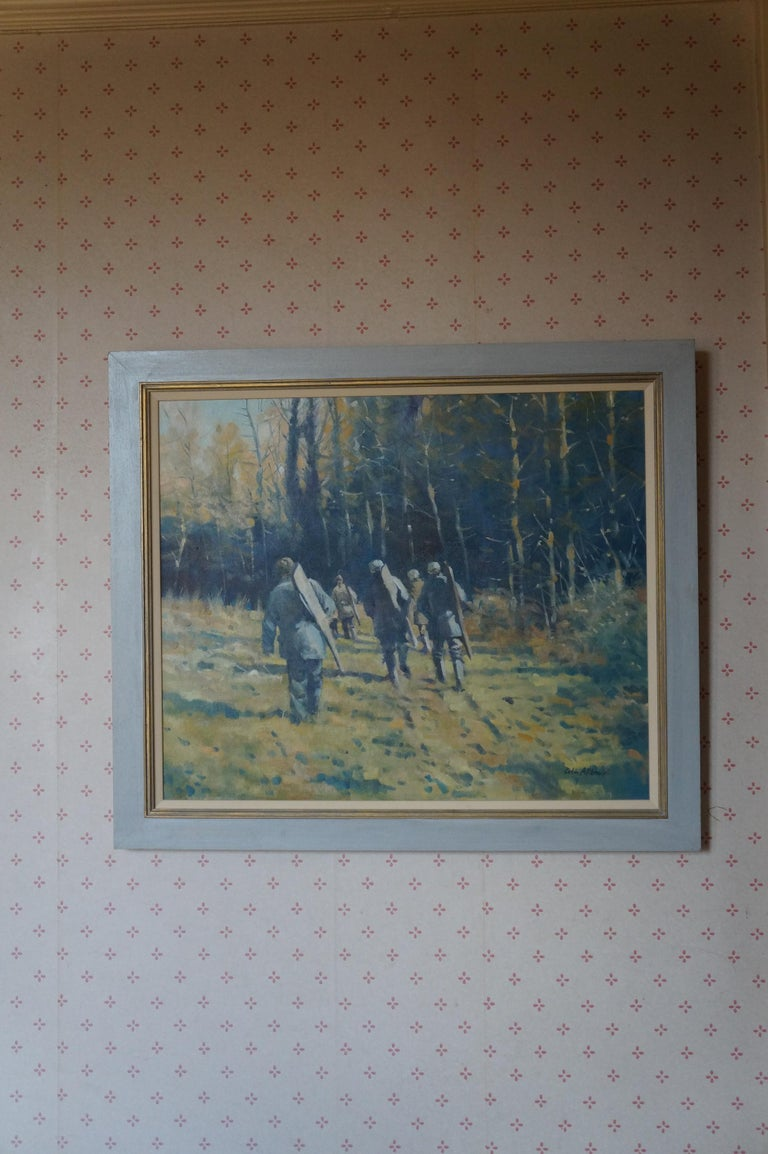 Colin Allbrook, Below the Wood, Original Contemporary Oil Painting, Rural Art For Sale 1