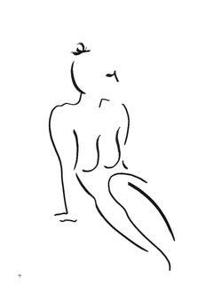#17B BY DAVID JONES, Minimalist Art, Black and White Drawing, Figurative Art
