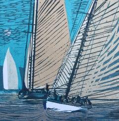 John Scott Martin, Mariette Sails By Moonlight, Sailing Print