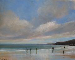 Scarborough, Nov 14. original seascape by Malcolm Ludvigsen, Beach Art, Seacape