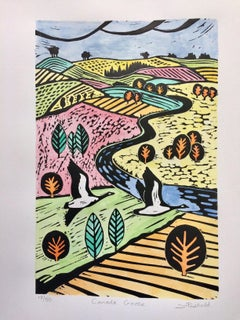 Joanna Padfield, Canada Goose, Linocut Print, Bright Art, Contemporary Landscape
