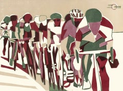 Lisa Takahashi, Echelon, Cycling Art, Contemporary Linocut Print, Affordable Art