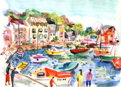 Padstow Harbour BY ANNA-LOUISE FELSTEAD,Contemporary Abstract Seaside Art Prints