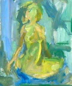Rosie Copeland, Green Nude, Sitting Original /Nude Landscape , Affordable Art