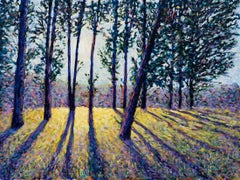Evensong, impressionist style original landscape painting, the season of spring