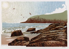 Ian Phillips, Sunshine Seagulls, Seascape Prints, Bright Art, Linocut Print