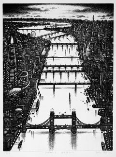 Thames Bridges, Prints of London, Monochrome Etchings, Affordable Cityscape Art