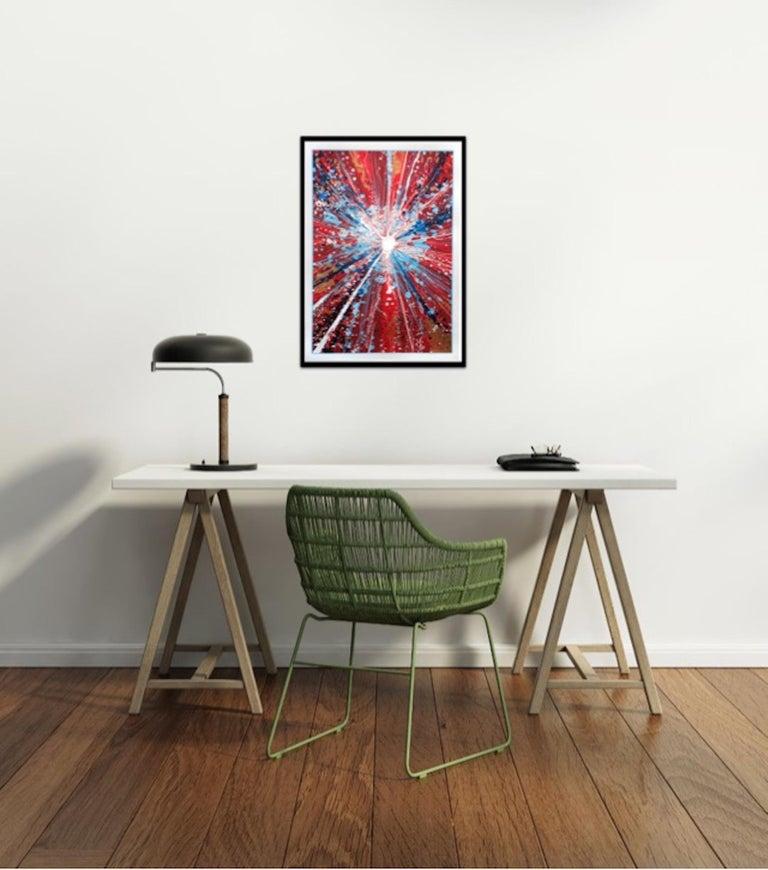 Chris Keegan, Boom, Bright Abstract Art, Portrait Art, Long Art, Affordable Art - Print by Chris Keegan