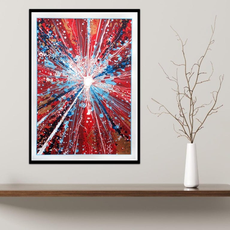 Chris Keegan, Boom, Bright Abstract Art, Portrait Art, Long Art, Affordable Art For Sale 3